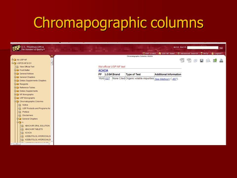 Chromapographic columns