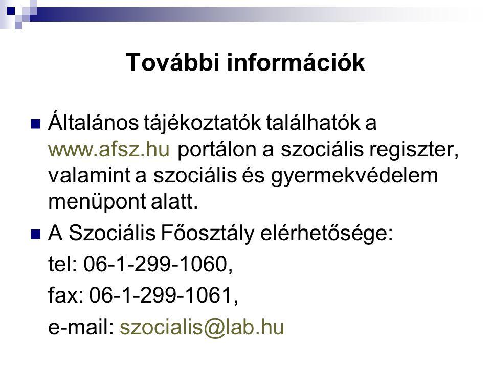 További információk Általános tájékoztatók találhatók a www.afsz.hu portálon a szociális regiszter, valamint a szociális és gyermekvédelem menüpont alatt.