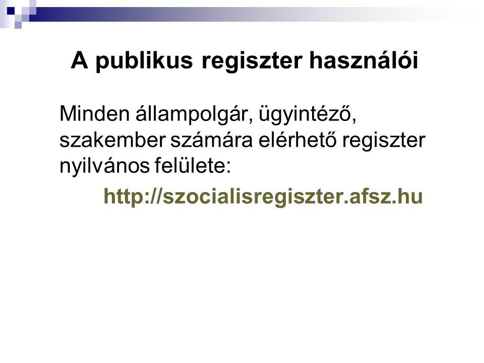 A publikus regiszter használói Minden állampolgár, ügyintéző, szakember számára elérhető regiszter nyilvános felülete: http://szocialisregiszter.afsz.hu