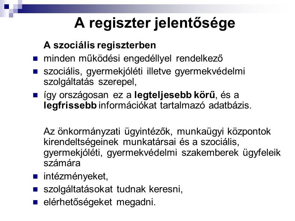 A regiszter jelentősége A szociális regiszterben minden működési engedéllyel rendelkező szociális, gyermekjóléti illetve gyermekvédelmi szolgáltatás szerepel, így országosan ez a legteljesebb körű, és a legfrissebb információkat tartalmazó adatbázis.