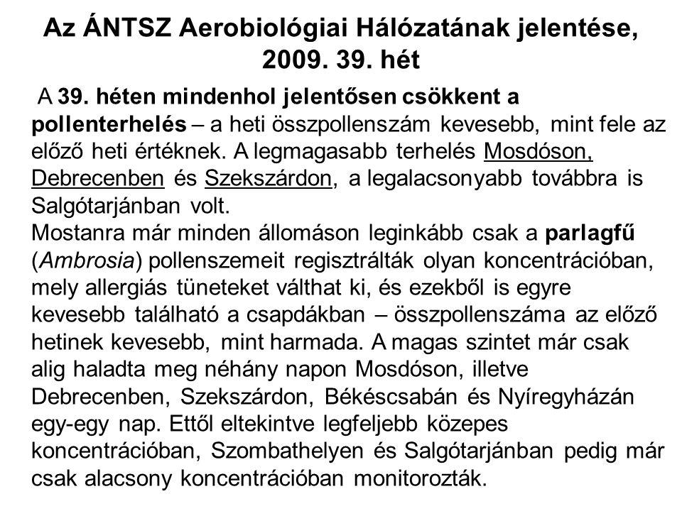 Az ÁNTSZ Aerobiológiai Hálózatának jelentése, 2009.