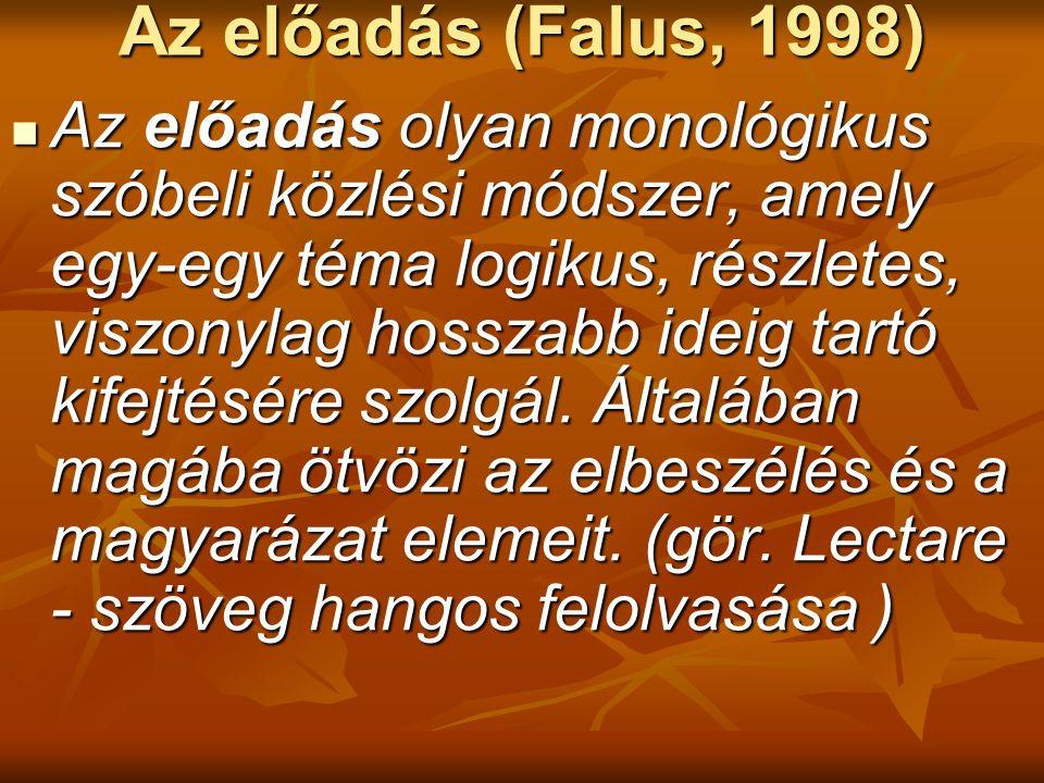 Az előadás (Falus, 1998) Az előadás olyan monológikus szóbeli közlési módszer, amely egy-egy téma logikus, részletes, viszonylag hosszabb ideig tartó kifejtésére szolgál.