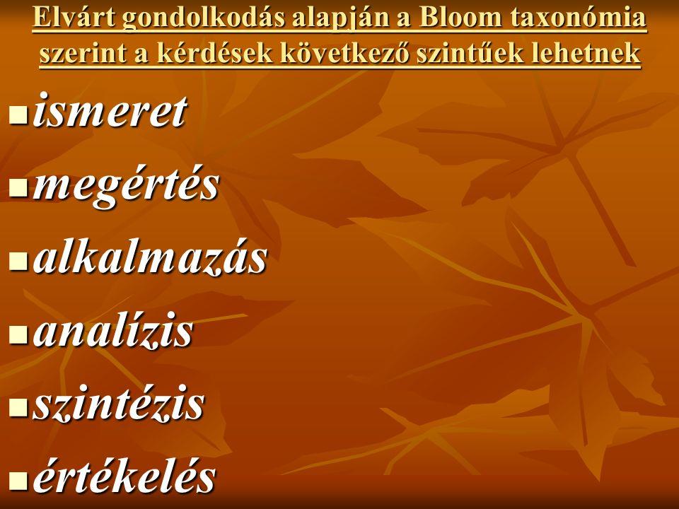 Elvárt gondolkodás alapján a Bloom taxonómia szerint a kérdések következő szintűek lehetnek ismeret ismeret megértés megértés alkalmazás alkalmazás analízis analízis szintézis szintézis értékelés értékelés