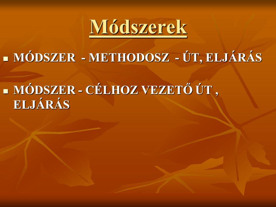Módszerek MÓDSZER - METHODOSZ - ÚT, ELJÁRÁS MÓDSZER - METHODOSZ - ÚT, ELJÁRÁS MÓDSZER - CÉLHOZ VEZETŐ ÚT, ELJÁRÁS MÓDSZER - CÉLHOZ VEZETŐ ÚT, ELJÁRÁS