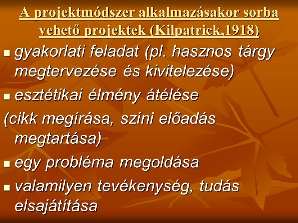 A projektmódszer alkalmazásakor sorba vehető projektek (Kilpatrick,1918) gyakorlati feladat (pl.