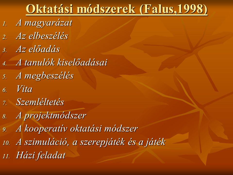 Oktatási módszerek (Falus,1998) 1. A magyarázat 2.