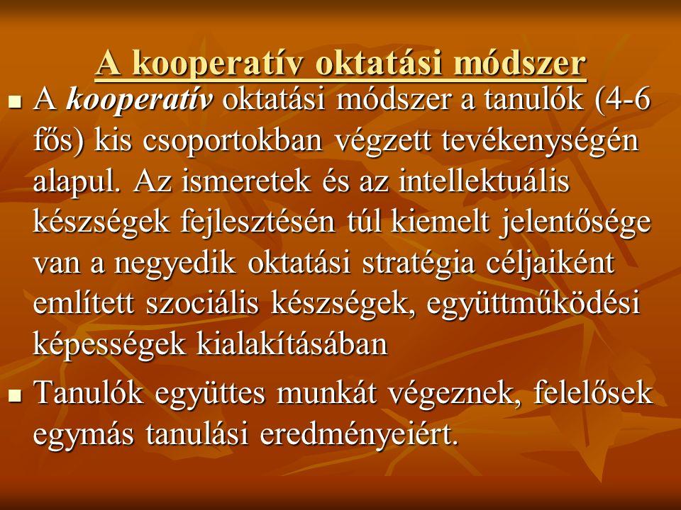A kooperatív oktatási módszer A kooperatív oktatási módszer A kooperatív oktatási módszer a tanulók (4-6 fős) kis csoportokban végzett tevékenységén alapul.