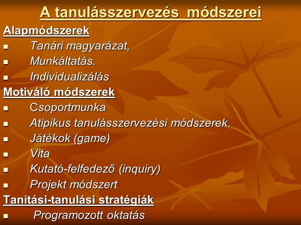 A tanulásszervezés módszerei Alapmódszerek Tanári magyarázat, Tanári magyarázat, Munkáltatás.