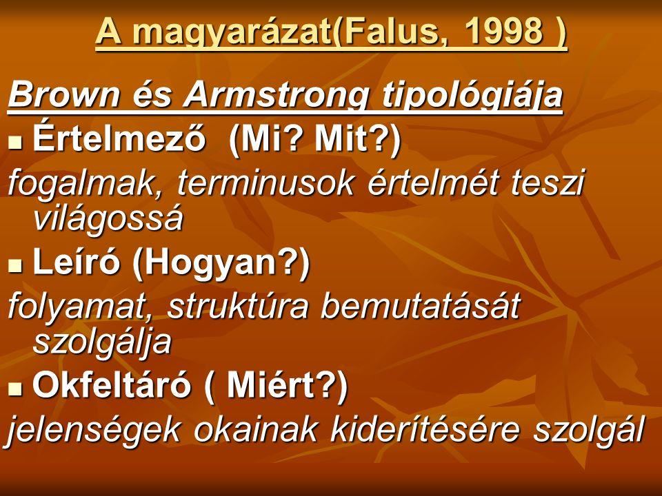 A magyarázat(Falus, 1998 ) Brown és Armstrong tipológiája Értelmező (Mi.