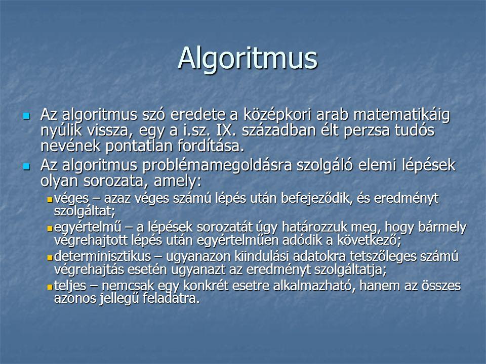 Algoritmus Algoritmus Az algoritmus szó eredete a középkori arab matematikáig nyúlik vissza, egy a i.sz.