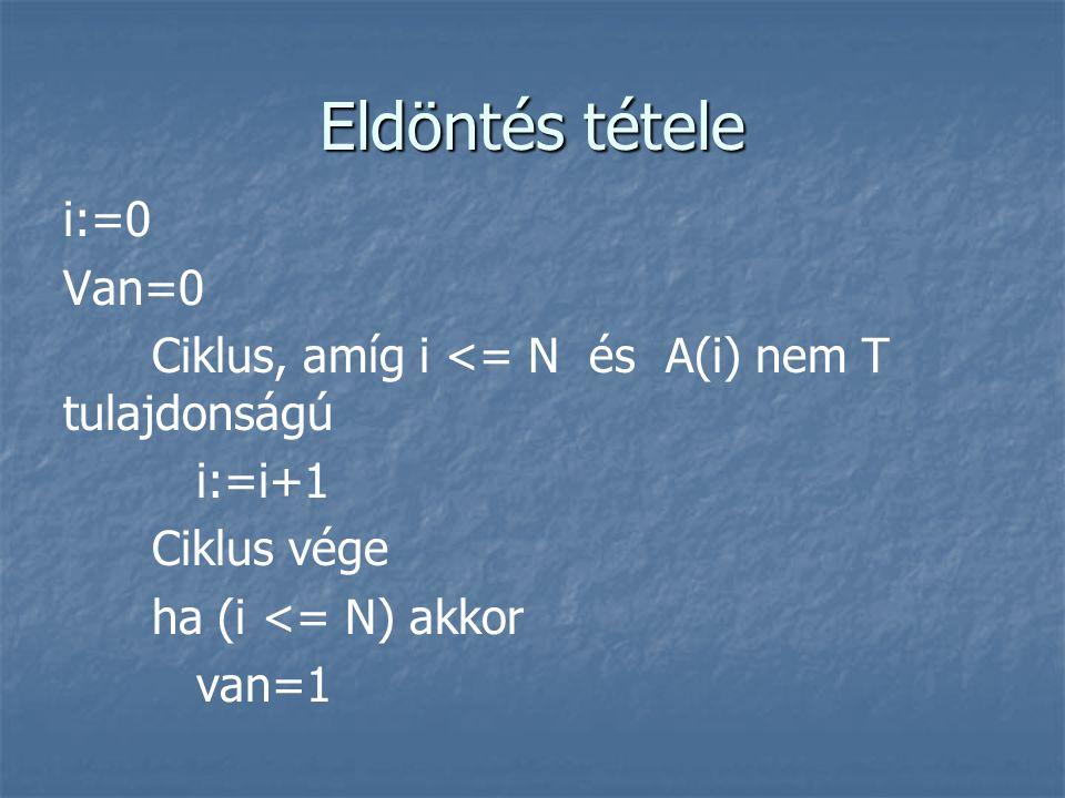 Eldöntés tétele i:=0 Van=0 Ciklus, amíg i <= N és A(i) nem T tulajdonságú i:=i+1 Ciklus vége ha (i <= N) akkor van=1
