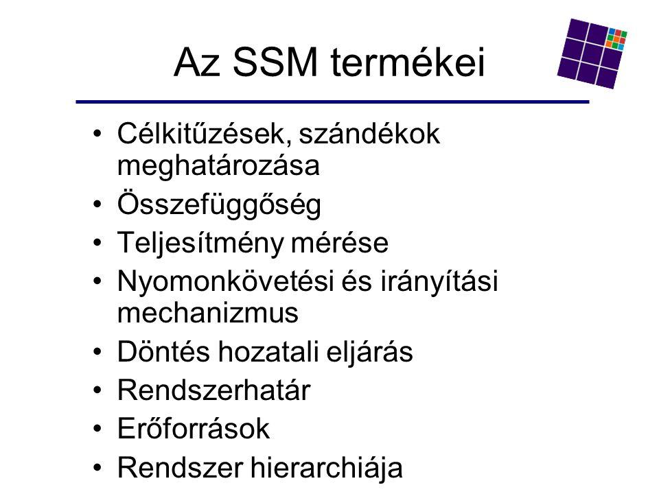 Az SSM termékei Célkitűzések, szándékok meghatározása Összefüggőség Teljesítmény mérése Nyomonkövetési és irányítási mechanizmus Döntés hozatali eljárás Rendszerhatár Erőforrások Rendszer hierarchiája