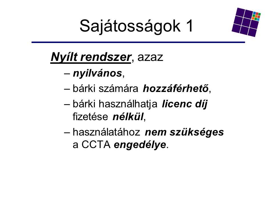Sajátosságok 1 Nyílt rendszer, azaz –nyilvános, –bárki számára hozzáférhető, –bárki használhatja licenc díj fizetése nélkül, –használatához nem szükséges a CCTA engedélye.