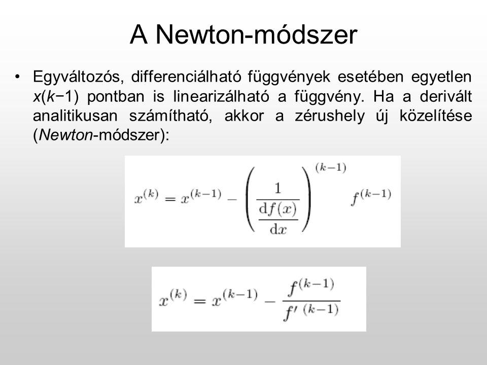A Newton-módszer Egyváltozós, differenciálható függvények esetében egyetlen x(k−1) pontban is linearizálható a függvény.