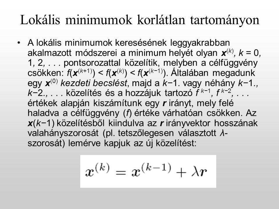 Lokális minimumok korlátlan tartományon A lokális minimumok keresésének leggyakrabban akalmazott módszerei a minimum helyét olyan x (k), k = 0, 1, 2,...