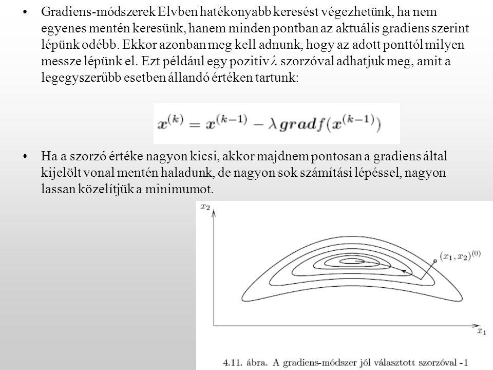 Gradiens-módszerek Elvben hatékonyabb keresést végezhetünk, ha nem egyenes mentén keresünk, hanem minden pontban az aktuális gradiens szerint lépünk odébb.