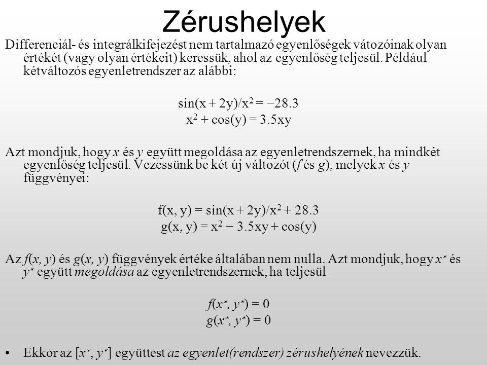 Zérushelyek Differenciál- és integrálkifejezést nem tartalmazó egyenlőségek vátozóinak olyan értékét (vagy olyan értékeit) keressük, ahol az egyenlőség teljesül.