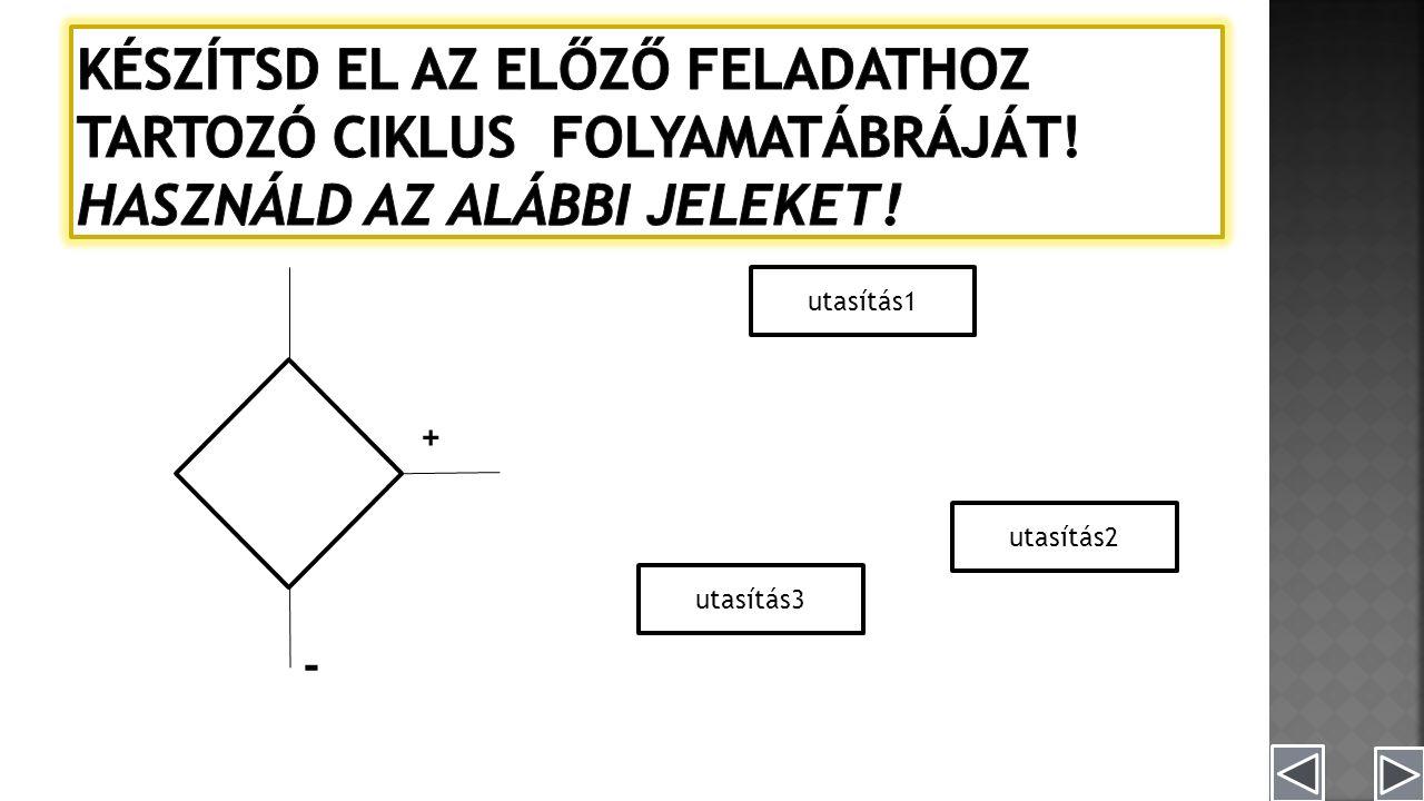 utasítás1 utasítás3 utasítás2 + -
