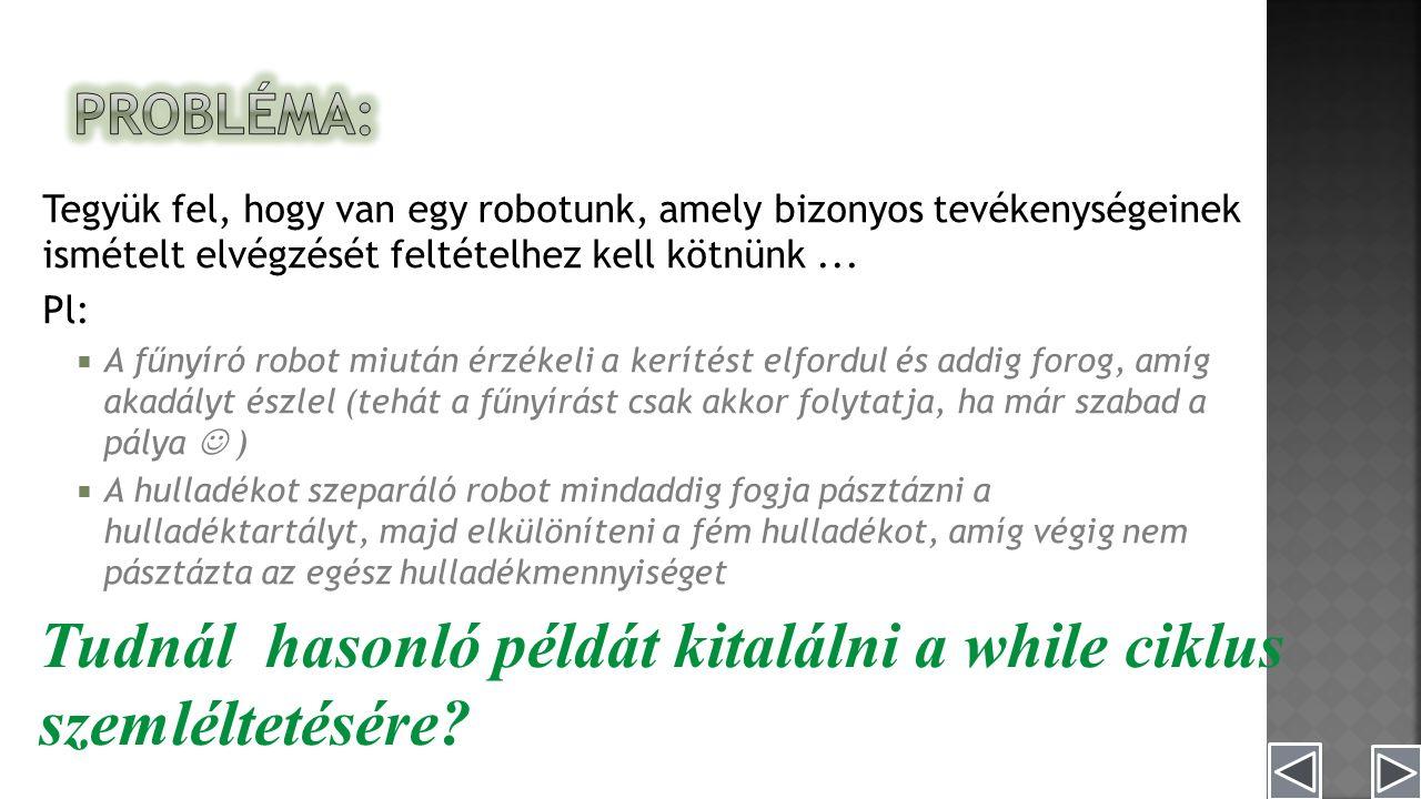 Tegyük fel, hogy van egy robotunk, amely bizonyos tevékenységeinek ismételt elvégzését feltételhez kell kötnünk...