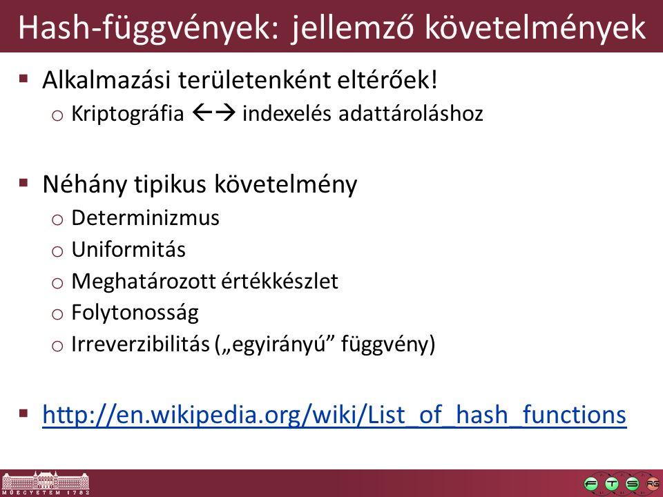Hash-függvények: jellemző követelmények  Alkalmazási területenként eltérőek! o Kriptográfia  indexelés adattároláshoz  Néhány tipikus követelmény