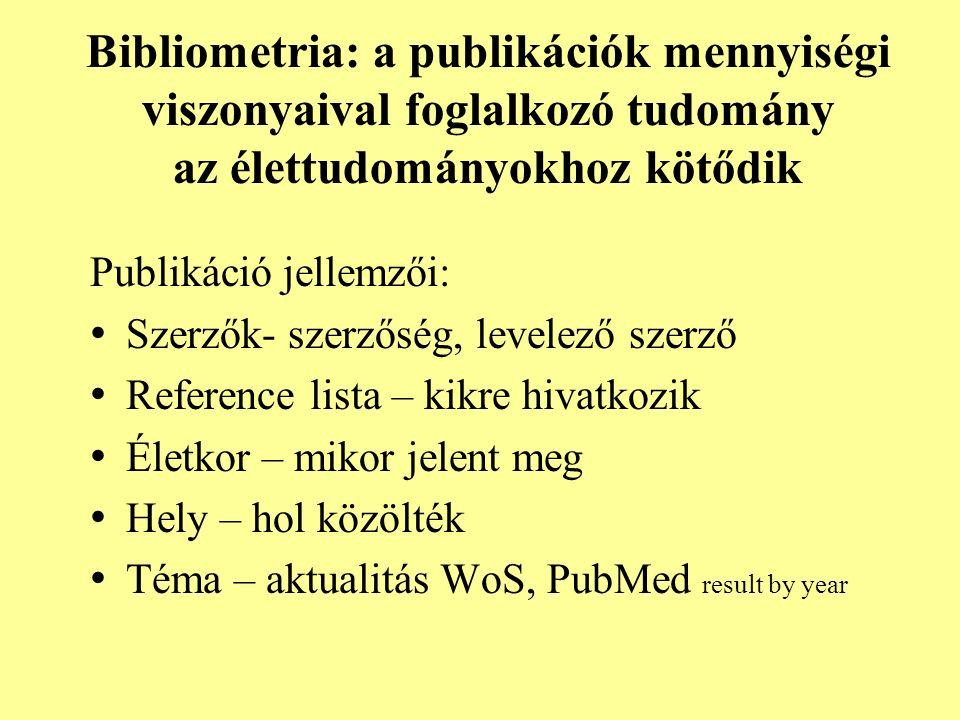 Bibliometria: a publikációk mennyiségi viszonyaival foglalkozó tudomány az élettudományokhoz kötődik Publikáció jellemzői: Szerzők- szerzőség, levelező szerző Reference lista – kikre hivatkozik Életkor – mikor jelent meg Hely – hol közölték Téma – aktualitás WoS, PubMed result by year