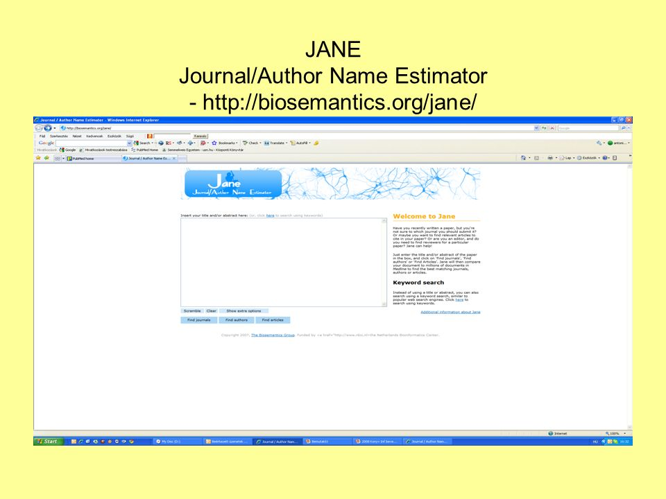 JANE Journal/Author Name Estimator - http://biosemantics.org/jane/