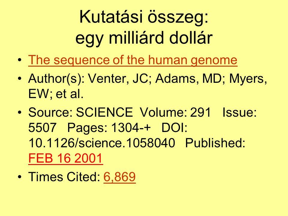 Kutatási összeg: egy milliárd dollár The sequence of the human genome Author(s): Venter, JC; Adams, MD; Myers, EW; et al.