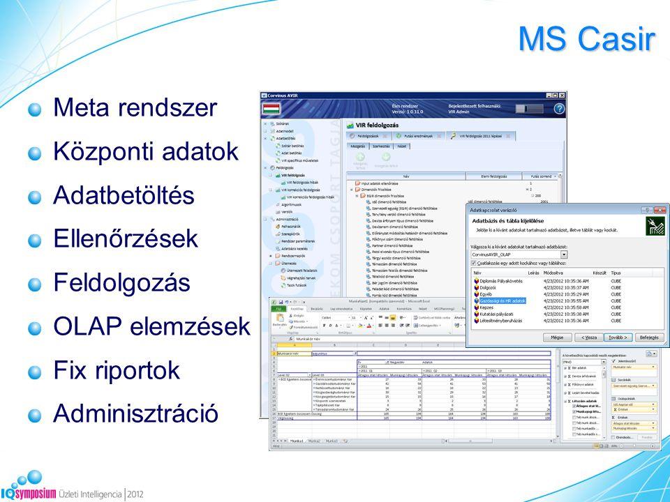 MS Casir Meta rendszer Központi adatok Adatbetöltés Ellenőrzések Feldolgozás OLAP elemzések Fix riportok Adminisztráció