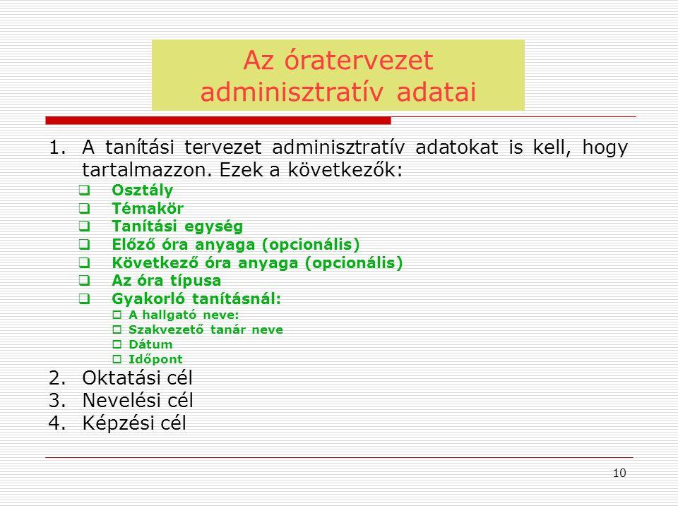 Az óratervezet adminisztratív adatai 10 1.A tanítási tervezet adminisztratív adatokat is kell, hogy tartalmazzon. Ezek a következők:  Osztály  Témak