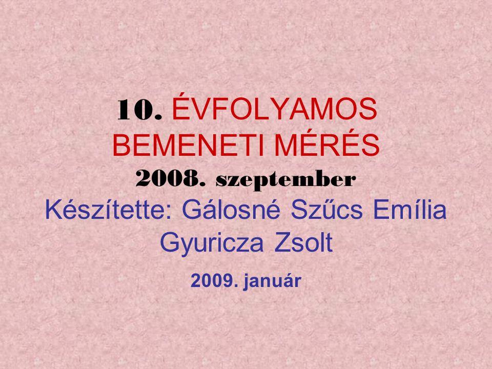 10. ÉVFOLYAMOS BEMENETI MÉRÉS 2008.