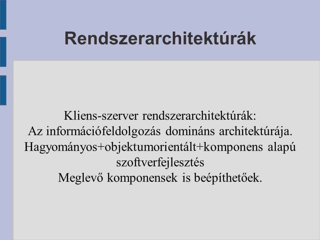 Kliens-szerver rendszerarchitektúrák: Az információfeldolgozás domináns architektúrája.