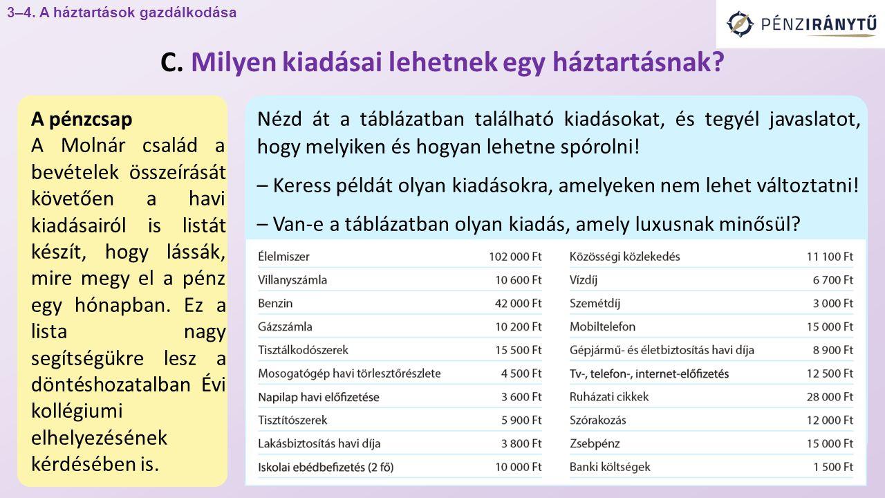 A pénzcsap A Molnár család a bevételek összeírását követően a havi kiadásairól is listát készít, hogy lássák, mire megy el a pénz egy hónapban.