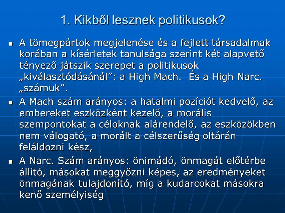 1. Kikből lesznek politikusok? A tömegpártok megjelenése és a fejlett társadalmak korában a kísérletek tanulsága szerint két alapvető tényező játszik