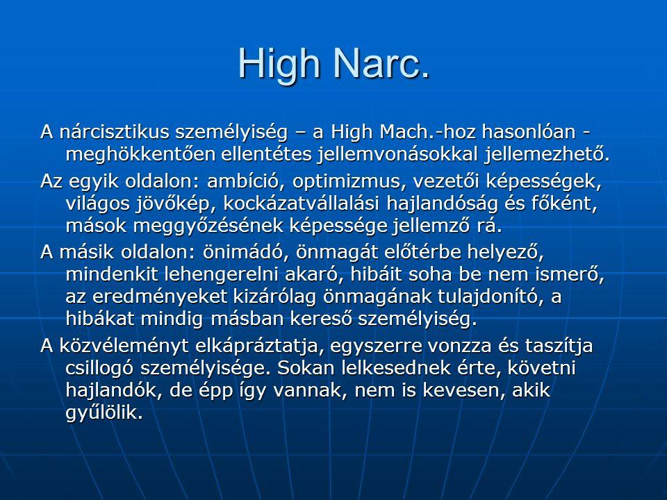 High Narc. A nárcisztikus személyiség – a High Mach.-hoz hasonlóan - meghökkentően ellentétes jellemvonásokkal jellemezhető. Az egyik oldalon: ambíció