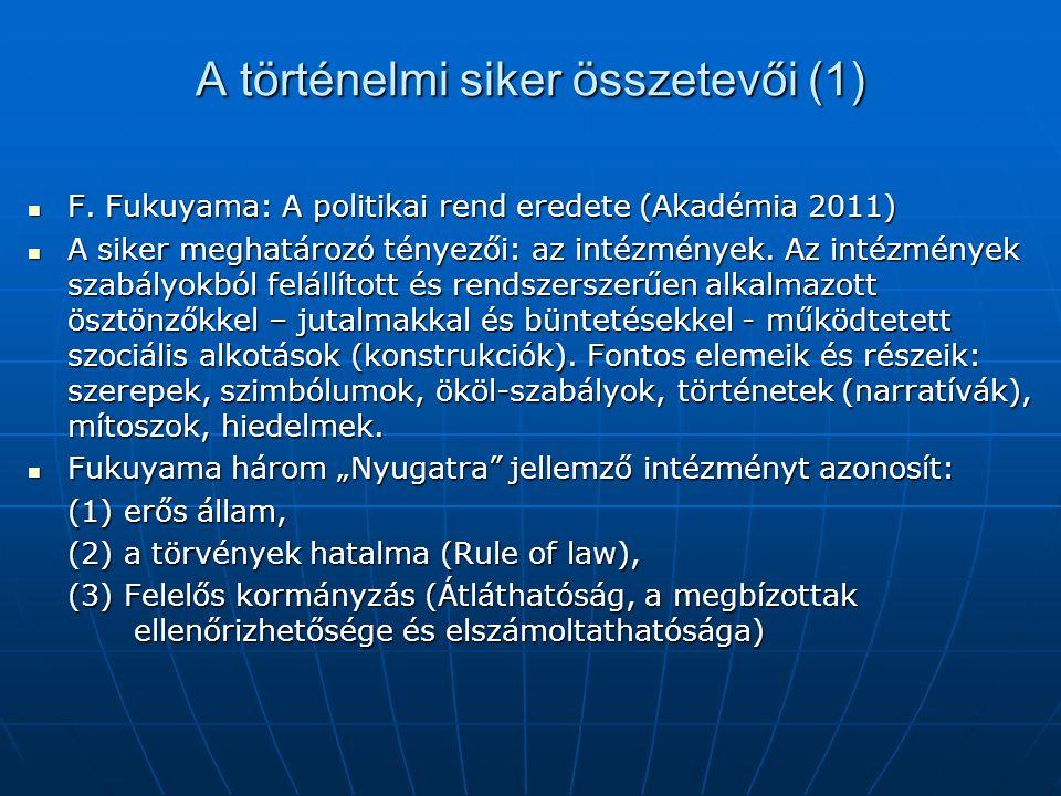 A történelmi siker összetevői (1) F.Fukuyama: A politikai rend eredete (Akadémia 2011) F.