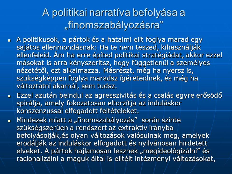 """A politikai narratíva befolyása a """"finomszabályozásra A politikusok, a pártok és a hatalmi elit foglya marad egy sajátos ellenmondásnak: Ha te nem teszed, kihasználják ellenfeleid."""