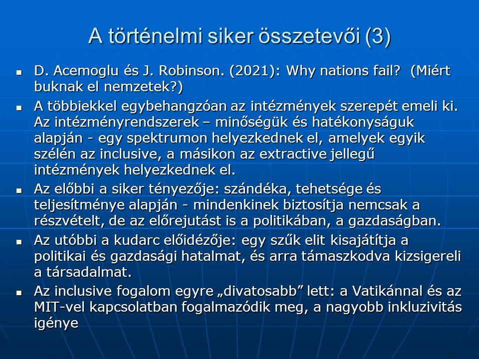 A történelmi siker összetevői (3) D. Acemoglu és J. Robinson. (2021): Why nations fail? (Miért buknak el nemzetek?) D. Acemoglu és J. Robinson. (2021)