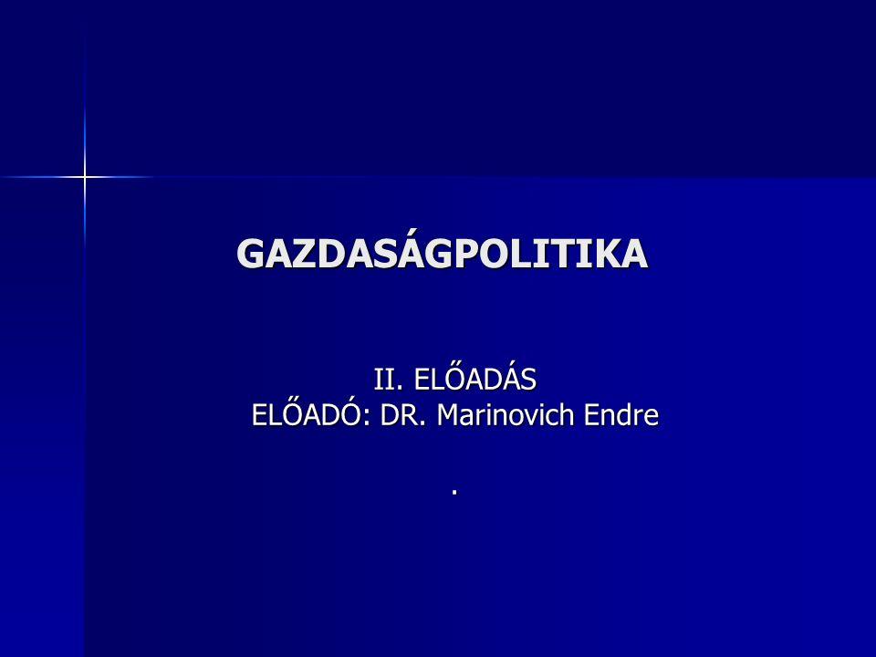 GAZDASÁGPOLITIKA II. ELŐADÁS ELŐADÓ: DR. Marinovich Endre.