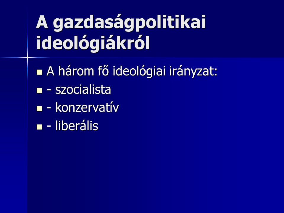 A gazdaságpolitikai ideológiákról A három fő ideológiai irányzat: A három fő ideológiai irányzat: - szocialista - szocialista - konzervatív - konzervatív - liberális - liberális