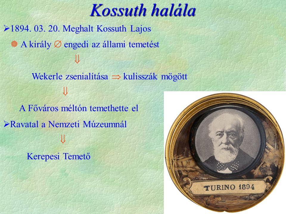 Kossuth halála  1894. 03. 20. Meghalt Kossuth Lajos  A király  engedi az állami temetést  Wekerle zsenialítása  kulisszák mögött  A Főváros mélt