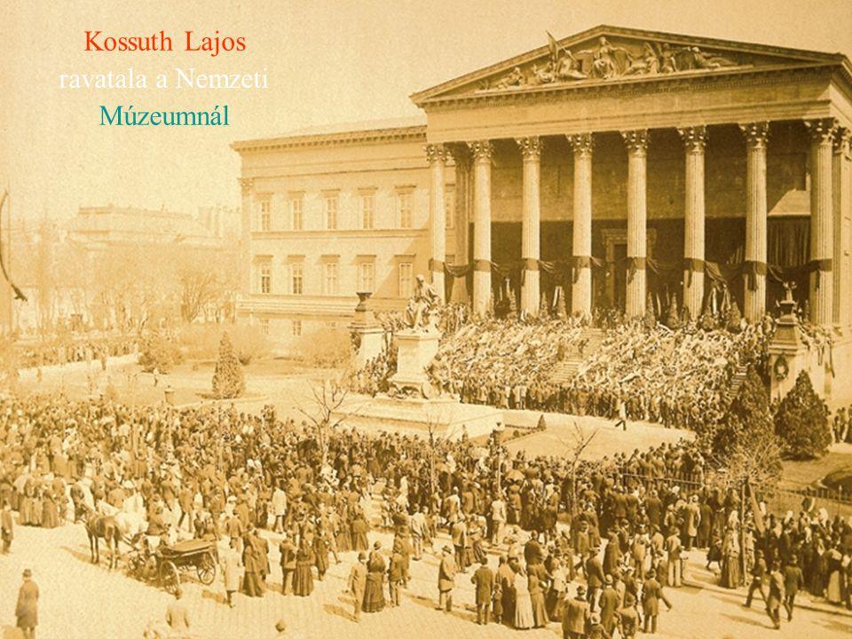 Kossuth Lajos ravatala a Nemzeti Múzeumnál
