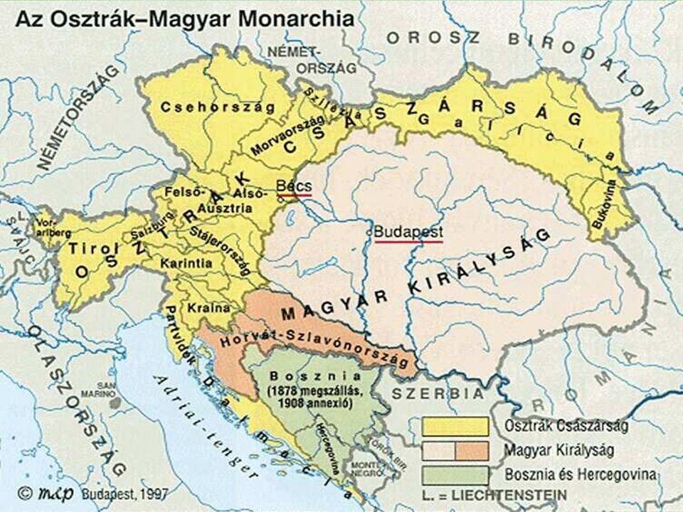 A monarchia rendszere  Európa - nemzeti átalakulás  utolsóként a Monarchia létre jötte  duális, két központú állam  Terület 2.