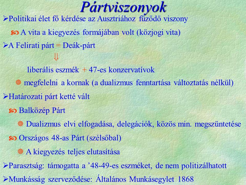 Pártviszonyok  Politikai élet fő kérdése az Ausztriához fűződő viszony  A vita a kiegyezés formájában volt (közjogi vita)  A Felirati párt = Deák-párt  liberális eszmék + 47-es konzervatívok  megfelelni a kornak (a dualizmus fenntartása változtatás nélkül)  Határozati párt ketté vált  Balközép Párt  Dualizmus elvi elfogadása, delegációk, közös min.