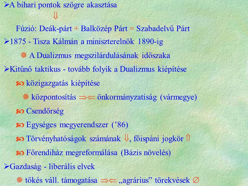  A bihari pontok szögre akasztása  Fúzió: Deák-párt + Balközép Párt = Szabadelvű Párt  1875 - Tisza Kálmán a miniszterelnök 1890-ig  A Dualizmus megszilárdulásának időszaka  Kitűnő taktikus - tovább folyik a Dualizmus kiépítése  közigazgatás kiépítése  központosítás  önkormányzatiság (vármegye)  Csendőrség  Egységes megyerendszer ('86)  Törvényhatóságok számának , főispáni jogkör   Főrendiház megreformálása (Bázis növelés)  Gazdaság - liberális elvek  tőkés váll.