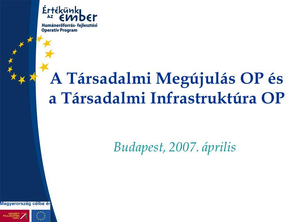 A Társadalmi Megújulás OP és a Társadalmi Infrastruktúra OP Budapest, 2007. április