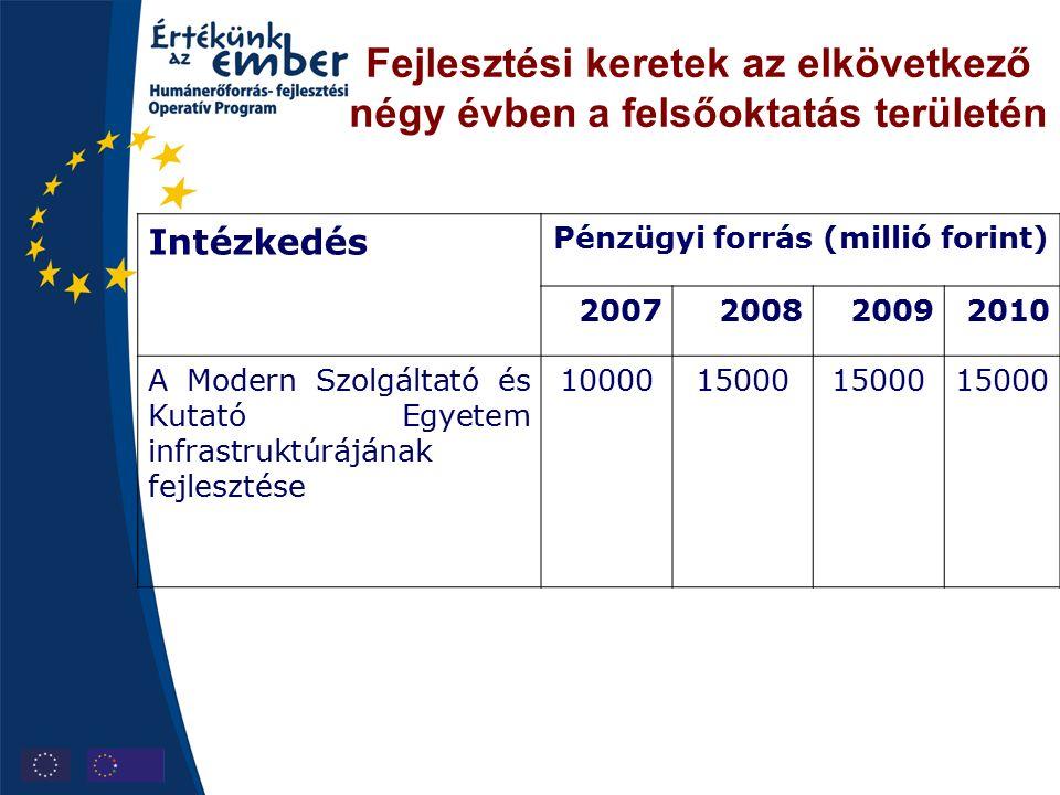 Fejlesztési keretek az elkövetkező négy évben a felsőoktatás területén Intézkedés Pénzügyi forrás (millió forint) 2007200820092010 A Modern Szolgáltató és Kutató Egyetem infrastruktúrájának fejlesztése 1000015000