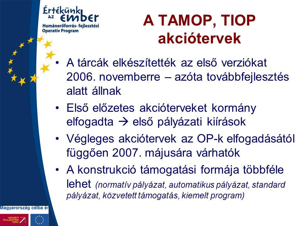 A TAMOP, TIOP akciótervek A tárcák elkészítették az első verziókat 2006. novemberre – azóta továbbfejlesztés alatt állnak Első előzetes akcióterveket