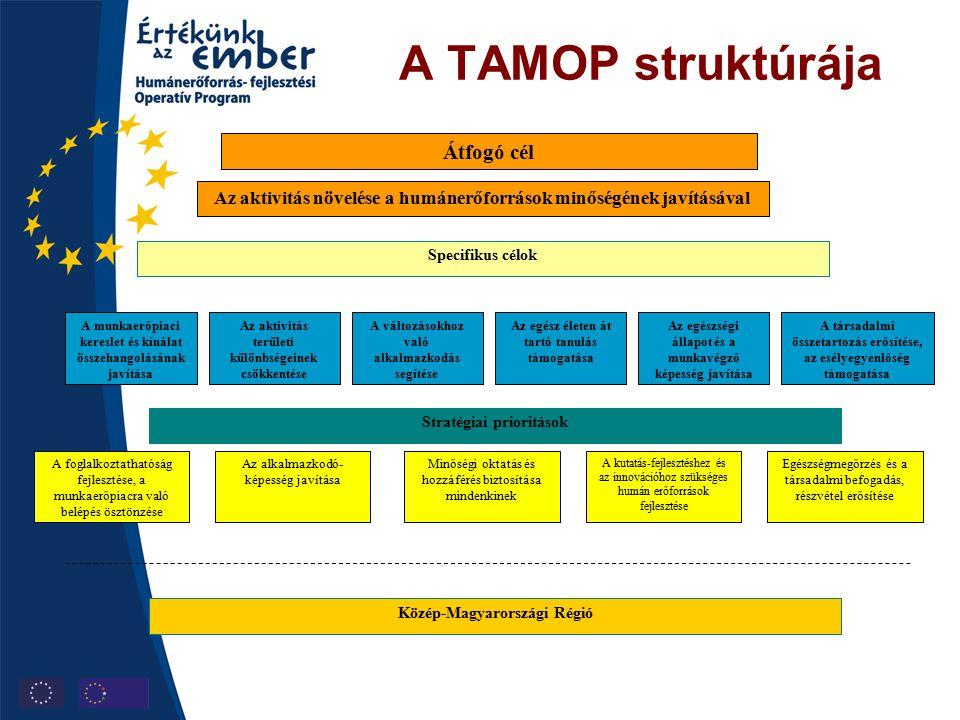 A TAMOP struktúrája Specifikus célok Az aktivitás növelése a humánerőforrások minőségének javításával A munkaerőpiaci kereslet és kínálat összehangolásának javítása Az aktivitás területi különbségeinek csökkentése A változásokhoz való alkalmazkodás segítése Az egész életen át tartó tanulás támogatása Az egészségi állapot és a munkavégző képesség javítása A társadalmi összetartozás erősítése, az esélyegyenlőség támogatása Stratégiai prioritások A foglalkoztathatóság fejlesztése, a munkaerőpiacra való belépés ösztönzése Az alkalmazkodó- képesség javítása Minőségi oktatás és hozzáférés biztosítása mindenkinek A kutatás-fejlesztéshez és az innovációhoz szükséges humán erőforrások fejlesztése Egészségmegőrzés és a társadalmi befogadás, részvétel erősítése Közép-Magyarországi Régió Átfogó cél