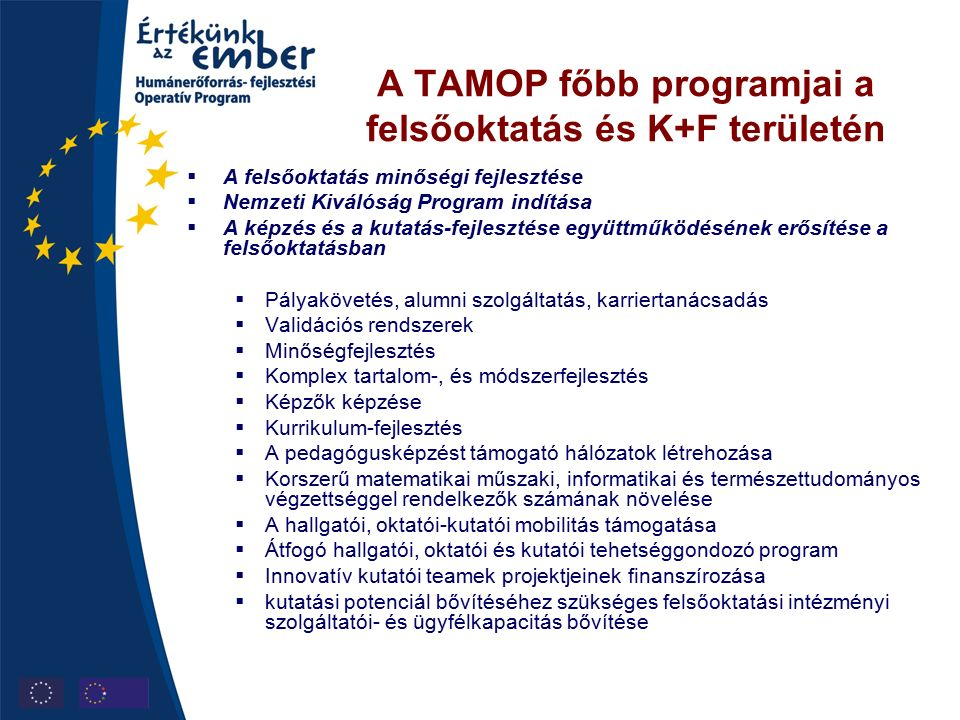 A TAMOP főbb programjai a felsőoktatás és K+F területén  A felsőoktatás minőségi fejlesztése  Nemzeti Kiválóság Program indítása  A képzés és a kutatás-fejlesztése együttműködésének erősítése a felsőoktatásban  Pályakövetés, alumni szolgáltatás, karriertanácsadás  Validációs rendszerek  Minőségfejlesztés  Komplex tartalom-, és módszerfejlesztés  Képzők képzése  Kurrikulum-fejlesztés  A pedagógusképzést támogató hálózatok létrehozása  Korszerű matematikai műszaki, informatikai és természettudományos végzettséggel rendelkezők számának növelése  A hallgatói, oktatói-kutatói mobilitás támogatása  Átfogó hallgatói, oktatói és kutatói tehetséggondozó program  Innovatív kutatói teamek projektjeinek finanszírozása  kutatási potenciál bővítéséhez szükséges felsőoktatási intézményi szolgáltatói- és ügyfélkapacitás bővítése