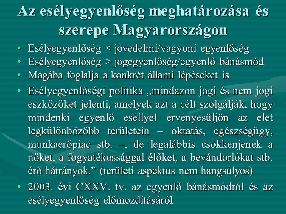 """Az esélyegyenlőség meghatározása és szerepe Magyarországon Esélyegyenlőség < jövedelmi/vagyoni egyenlőségEsélyegyenlőség < jövedelmi/vagyoni egyenlőség Esélyegyenlőség > jogegyenlőség/egyenlő bánásmódEsélyegyenlőség > jogegyenlőség/egyenlő bánásmód Magába foglalja a konkrét állami lépéseket isMagába foglalja a konkrét állami lépéseket is Esélyegyenlőségi politika """"mindazon jogi és nem jogi eszközöket jelenti, amelyek azt a célt szolgálják, hogy mindenki egyenlő eséllyel érvényesüljön az élet legkülönbözőbb területein – oktatás, egészségügy, munkaerőpiac stb."""